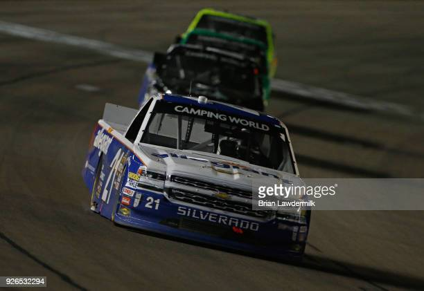 Johnny Sauter driver of the Allegiant Airlines Chevrolet leads a pack of trucks during the NASCAR Camping World Truck Series Stratosphere 200 at Las...