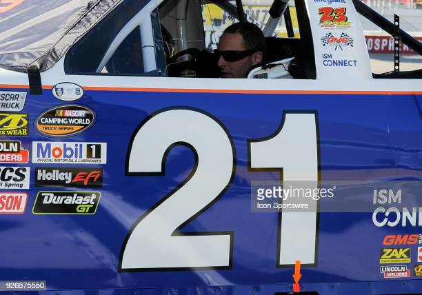 Johnny Sauter driver of the Allegiant Airlines Chevrolet sits in his truck during the Startosphere 200 qualifying on March 2 2018 at Las Vegas Moter...