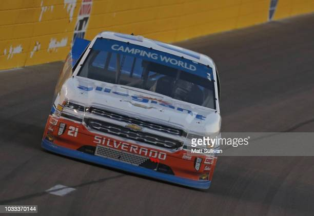 Johnny Sauter driver of the Allegiant Chevrolet races during the NASCAR Camping World Truck Series World of Westgate 200 at Las Vegas Motor Speedway...