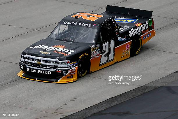 Johnny Sauter driver of the Allegiant Travel Chevrolet practices for the NASCAR Camping World Truck Series at Dover International Speedway on May 12...