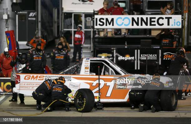 Johnny Sauter driver of the GMS Fabrication Chevrolet pits during the NASCAR Camping World Truck Series UHOH 200 at Bristol Motor Speedway on August...