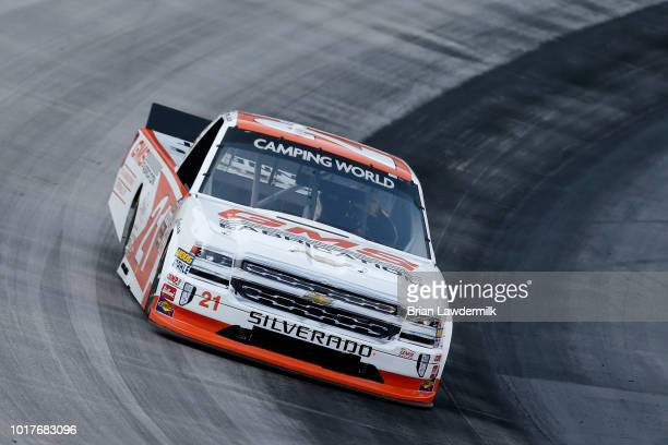 Johnny Sauter driver of the GMS Fabrication Chevrolet practices for the NASCAR Camping World Truck Series UHOH 200 at Bristol Motor Speedway on...