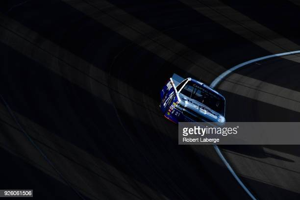 Johnny Sauter driver of the GMS Racing Allegiant Airlines Chevrolet during practice for the NASCAR Camping World Truck Series Stratosphere 200 on...