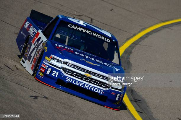 Johnny Sauter driver of the Go Texan Chevrolet drives his truck during practice for the NASCAR Camping World Truck Series MM's 200 presented by...