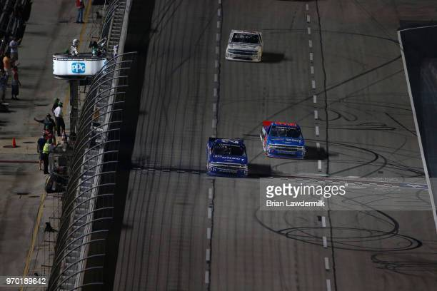 Johnny Sauter driver of the ISM Connect Chevrolet crosses the finish line to win the NASCAR Camping World Truck Series PPG 400 at Texas Motor...