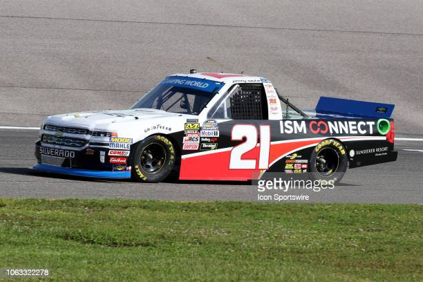 Johnny Sauter driver of the ISM Connect Chevrolet during practice for the NASCAR Camping World Series playoff race the Ford EcoBoost 200 on November...