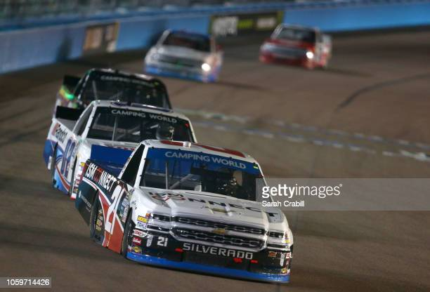 Johnny Sauter driver of the ISM Connect Chevrolet leads a pack of trucks during the NASCAR Camping World Truck Series Lucas Oil 150 at ISM Raceway on...
