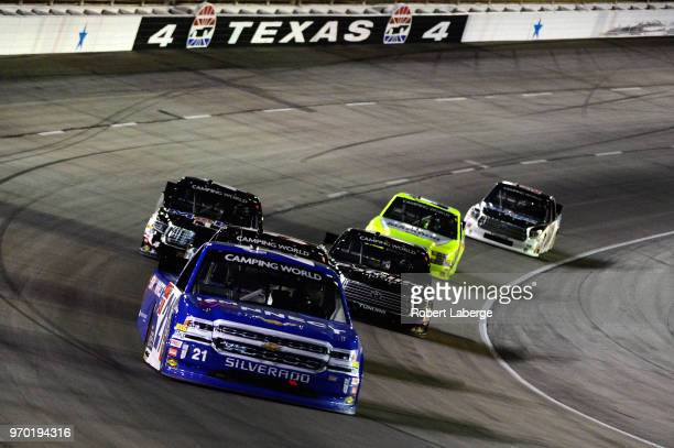 Johnny Sauter driver of the ISM Connect Chevrolet leads a pack of cars during the NASCAR Camping World Truck Series PPG 400 at Texas Motor Speedway...