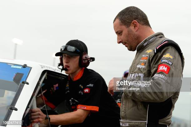 Johnny Sauter driver of the ISM Connect Chevrolet looks on during qualifying for the NASCAR Camping World Truck Series Ford EcoBoost 200 at...