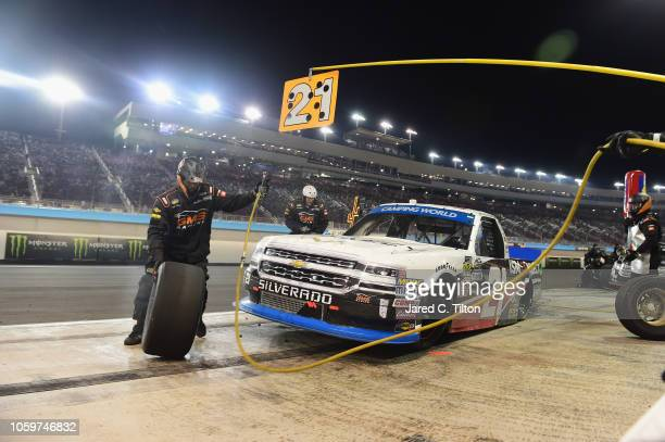 Johnny Sauter driver of the ISM Connect Chevrolet pits during the NASCAR Camping World Truck Series Lucas Oil 150 at ISM Raceway on November 9 2018...