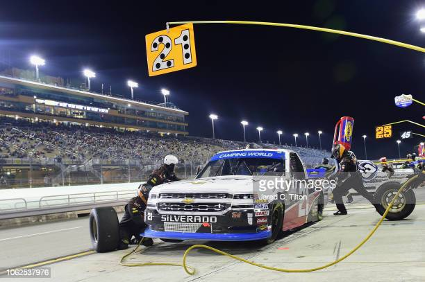 Johnny Sauter driver of the ISM Connect Chevrolet pits during the NASCAR Camping World Truck Series Ford EcoBoost 200 at HomesteadMiami Speedway on...