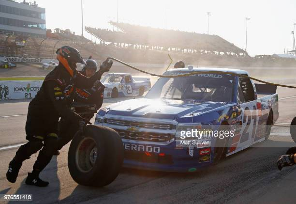 Johnny Sauter driver of the ISM Connect Chevrolet pits during the NASCAR Camping World Truck Series MM's 200 presented by Casey's General Store at...