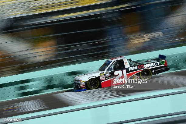 Johnny Sauter driver of the ISM Connect Chevrolet practices for the NASCAR Camping World Truck Series Ford EcoBoost 200 at HomesteadMiami Speedway on...