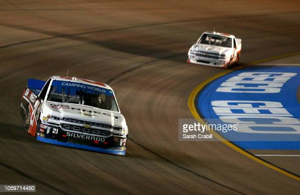 Johnny Sauter driver of the ISM Connect Chevrolet races during the NASCAR Camping World Truck Series Lucas Oil 150 at ISM Raceway on November 9 2018...