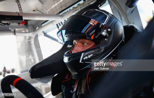 Johnny Sauter driver of the ISM Connect Chevrolet sits in his truck during practice for the NASCAR Camping World Truck Series MM's 200 at Iowa...