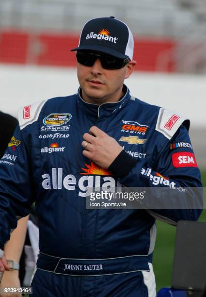 Johnny Sauter GMS Racing Allegiant Airlines Chevrolet Silverado during the running of the 10th annual Active Pest Control 200 on Saturday February 24...