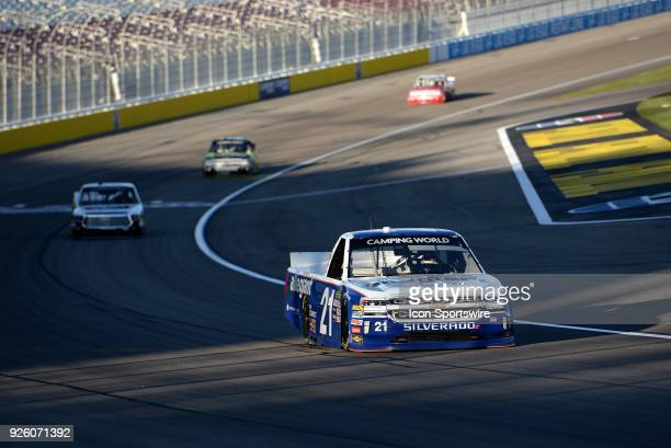 Johnny Sauter GMS Racing Chevrolet Silverado drives down the front stretch during practice for the NASCAR Camping World Truck Series Stratosphere 200...