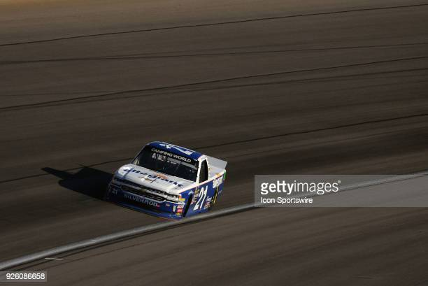 Johnny Sauter GMS Racing Chevrolet Silverado drives through turn three during practice for the NASCAR Camping World Truck Series Stratosphere 200 on...