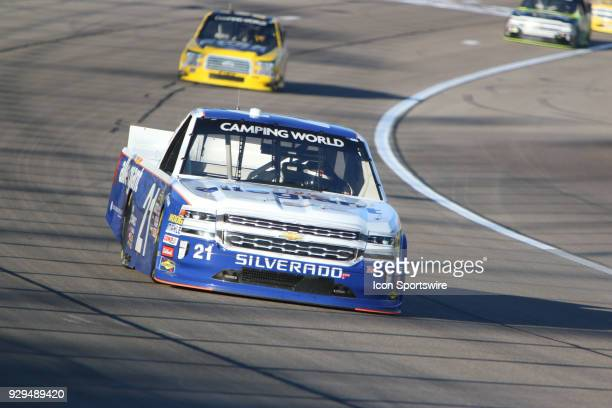 Johnny Sauter GMS Racing Chevrolet Silverado during practice for the Stratosphere 200 NASCAR Camping World Truck Series race on March 1 at Las Vegas...