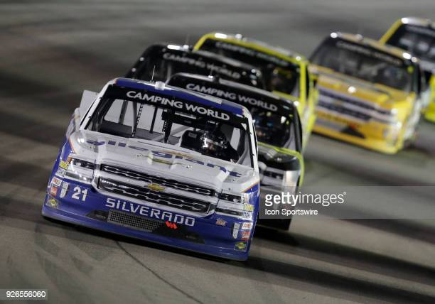 Johnny Sauter GMS Racing Chevrolet Silverado in action during the NASCAR Camping World Truck Series Stratosphere 200 at Las Vegas Motor Speedway on...