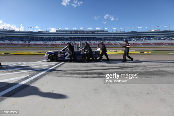 Johnny Sauter GMS Racing Chevrolet Silverado is wheeled out for practice at the NASCAR Camping World Truck Series Inaugural Stratosphere 200 on March...