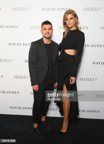 Johnny Schembri and Lydia Collins arrive ahead of the David Jones Spring Summer 2017 Collections Launch at David Jones Elizabeth Street Store on...