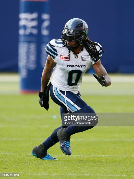 Johnny Sears Jr #0 of the Toronto Argonauts in pass coverage against the Edmonton Eskimos during a game at BMO field on September 16 2017 in Toronto...