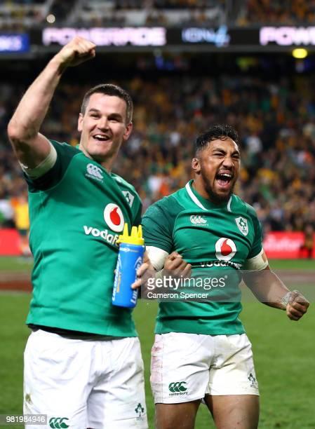 Johnny Sexton of Ireland and Bundee Aki of Ireland celebrate winning the Third International Test match between the Australian Wallabies and Ireland...