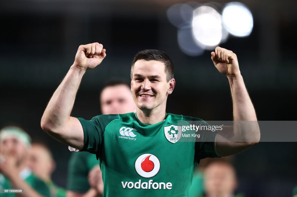 Johnny Sexton of Ireland celebrates victory at the end of the Third International Test match between the Australian Wallabies and Ireland at Allianz Stadium on June 23, 2018 in Sydney, Australia.