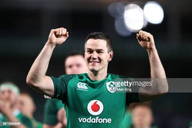 Johnny Sexton of Ireland celebrates victory at the end of the Third International Test match between the Australian Wallabies and Ireland at Allianz...