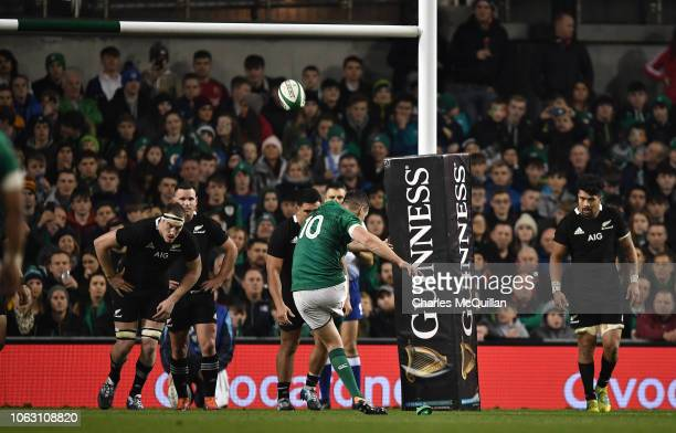 Johnny Sexton of Ireland converts a penalty during the International Friendly rugby match between Ireland and New Zealand on November 17 2018 in...