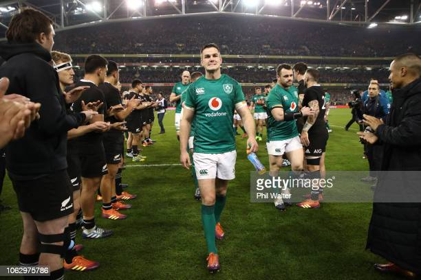 Johnny Sexton of Ireland leaves the field during the International Friendly match between the New Zealand All Blacks and Ireland on November 17 2018...