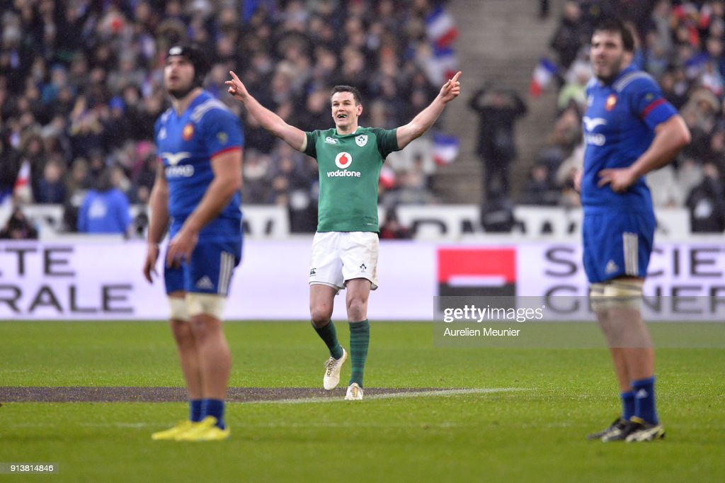 Johnny Sexton of Ireland reacts after kicking the game winning kick at the last second of the NatWest Six Nations match between France and Ireland at Stade de France on February 3, 2018 in Paris, France.