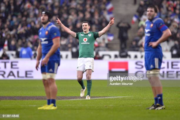 Johnny Sexton of Ireland reacts after kicking the game winning kick at the last second of the NatWest Six Nations match between France and Ireland at...