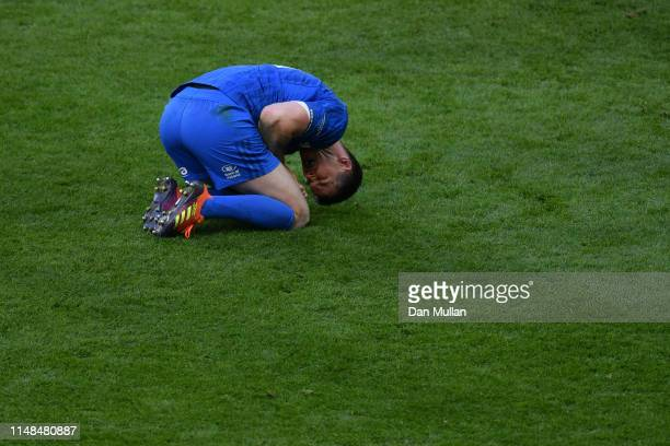 Johnny Sexton of Leinster kneels in pain during the Champions Cup Final match between Saracens and Leinster at St. James Park on May 11, 2019 in...