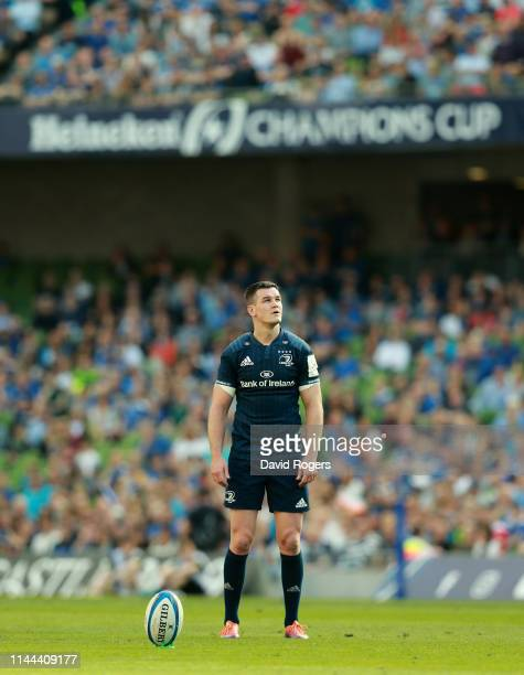 Johnny Sexton of Leinster lines up a conversion during the Champions Cup Semi Final match between Leinster Rugby and Toulouse at the Aviva Stadium on...