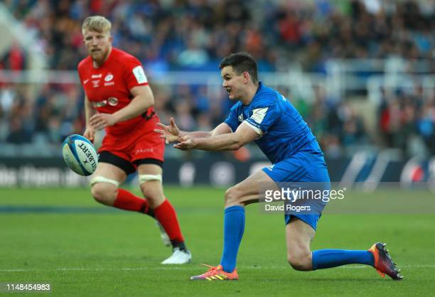 Johnny Sexton of Leinster passes the ball during the Champions Cup Final match between Saracens and Leinster at St. James Park on May 11, 2019 in...