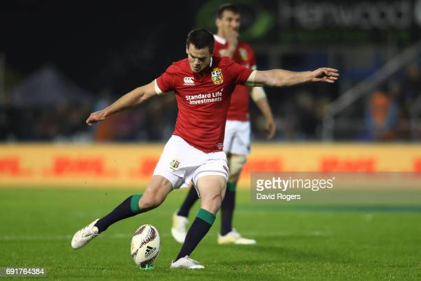 Johnny Sexton of the British Irish Lions scores the opening points with a penalty kick during the 2017 British Irish Lions tour match between the New...