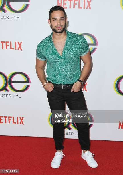 Johnny Sibilly attends the premiere of Netflix's Queer Eye Season 1 at Pacific Design Center on February 7 2018 in West Hollywood California