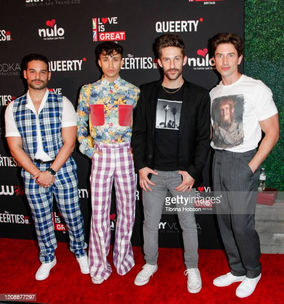 Johnny Sibilly Jeremy McClain Jimmy Fowlie and Nick Adams attend The Queerties 2020 Awards Reception at LA Liason on February 25 2020 in Los Angeles...