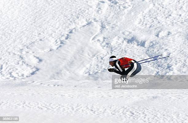 Johnny Spillane of the United States competes in the Nordic Combined 4x5km Team Final on Day 6 of the 2006 Turin Winter Olympic Games on February 16,...