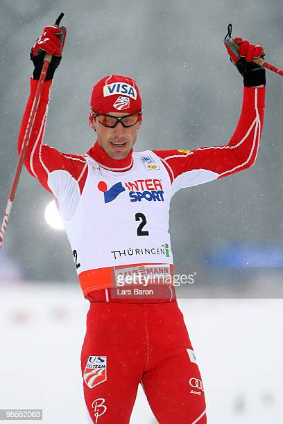Johnny Spillane of USA celebrates after winning the cross country event of the FIS Nordic Combined World Cup on January 3, 2010 in Oberhof, Germany.