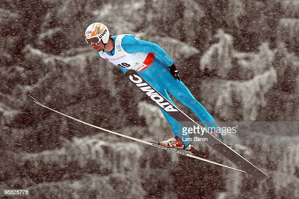 Johnny Spillane of USA competes during the Ski Jumping event of the FIS Nordic Combined World Cup at the Hans-Renner-Schanze on January 2, 2010 in...