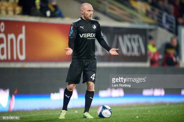 Johnny Thomsen of Randers FC in action during the Danish Alka Superliga match between AC Horsens and Randers FC at CASA Arena Horsens on February 23...