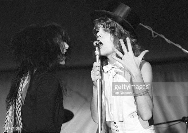 Johnny Thunders and David Johansen of New York Dolls perform on stage at the Rainbow Room at the fashion store Biba in Kensington, London on 26th...