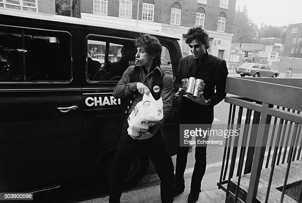 Johnny Thunders and the Heartbreakers with a Ford Transit tour van St Albans United Kingdom 1977