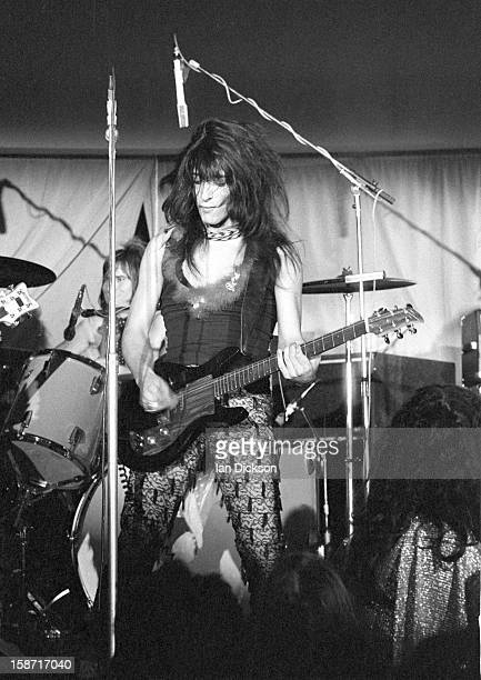 Johnny Thunders of New York Dolls performs on stage at the Rainbow Room at the fashion store Biba in Kensington London on 26th November 1973 He plays...