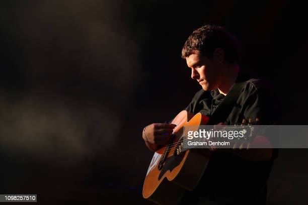 Johnny Took of DMA's performs on the AO Live Stage during day ten of the 2019 Australian Open at Melbourne Park on January 23, 2019 in Melbourne,...