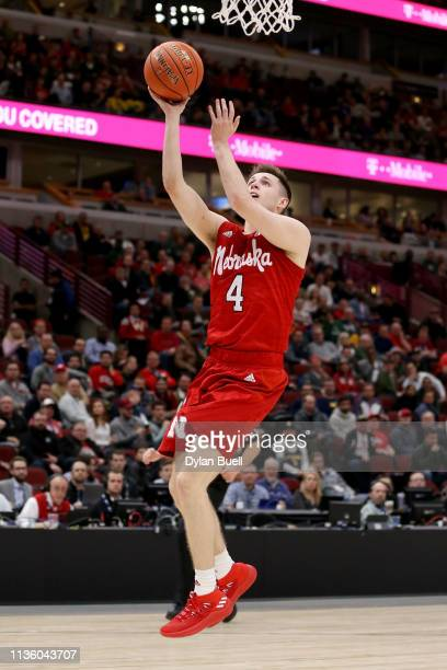 Johnny Trueblood of the Nebraska Huskers attempts a shot in the second half against the Wisconsin Badgers during the quarterfinals of the Big Ten...