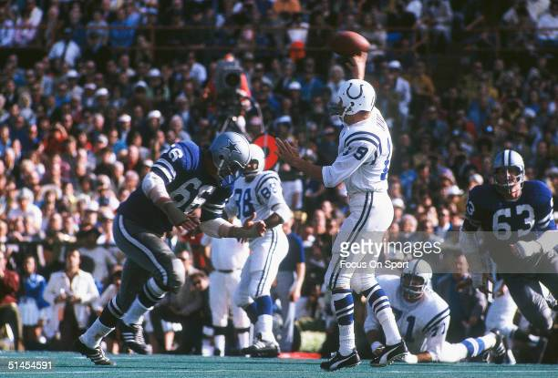 Johnny Unitas quarterback for the Baltimore Colts throws a pass during Super Bowl V against the Dallas Cowboys at the Oarnge Bowl on January 17 1971...
